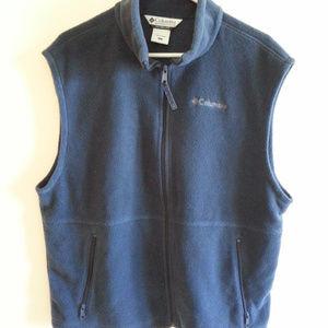 Columbia dark blue fleece full zip vest - mens LG